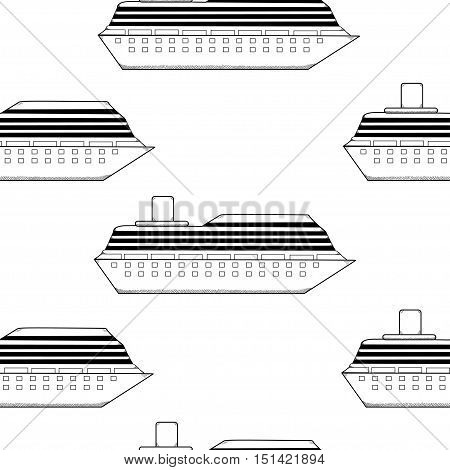 Ship seampless pattern. Cruise-ship steamship background.  Vector illustration