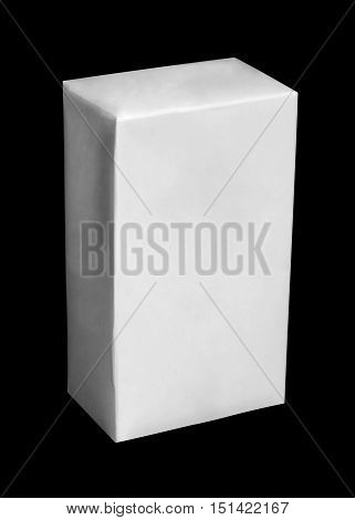 White carton package of milk or juice. Isolation on black background with clipping path.