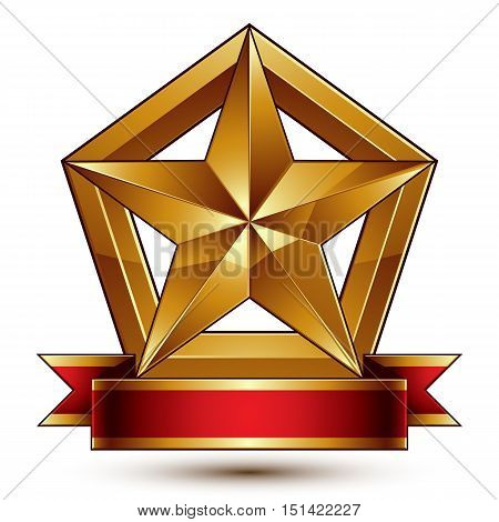 3d golden heraldic blazon with glossy pentagonal star best for web and graphic design. Decorative coat of arms with red wavy ribbon defense symbol.