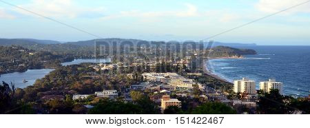 Narrabeen beach and lakes from Collaroy Plateau (Sydney NSW Australia)