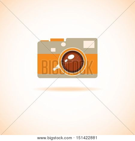 Vintage flat style photo camera icon. Leica camera logo sign. Photo camera logotype symbol