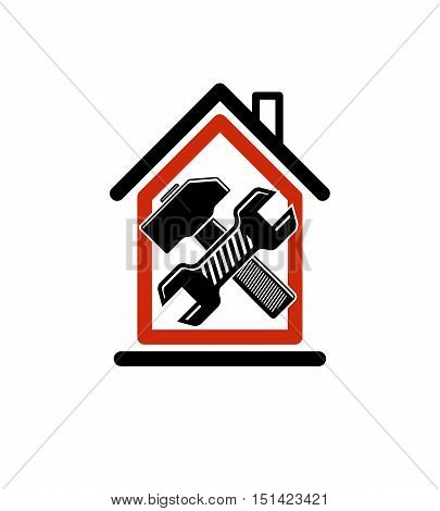 Spanner and mallet crossed. Simple vector house with industrial work tools