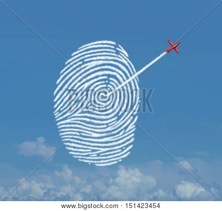 Identity security concept as an acrobatic jet airplane making a smoke trail shaped as a fingerprint or thumbprint symbol as a cloud data storage metaphor for password encryption access protection with 3D illustration elements.