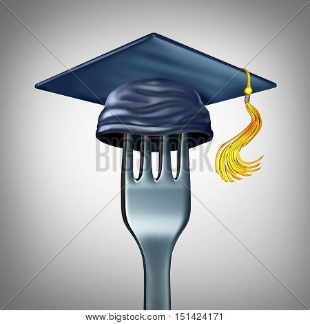 Cooking school symbol and culinary arts training as a dinner fork with a graduation hat or mortar board cap as a gourmet cuisine education icon for chef teaching and nutrition learning as a 3D illustration.