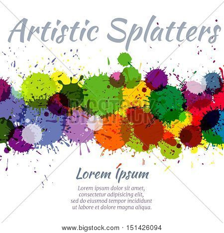 Colorful watercolor paint stains abstract art vector splash background. Bright stain color, rainbow spectrum aquarelle illustration