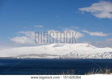 Lake Sevan in winter, Armenia