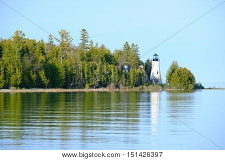 Old Presque Isle Lighthouse, built in 1840, Lake Huron, Michigan, USA