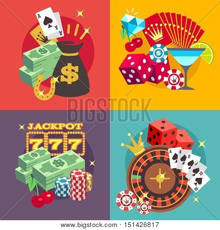 Casino gambling vector concept set with win money jackpot flat icons. Roulette and fortune in blackjack game illustration