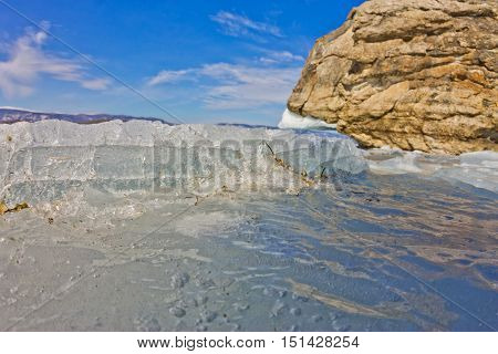 Blue Ice Of Lake Baikal, Olkhon Island