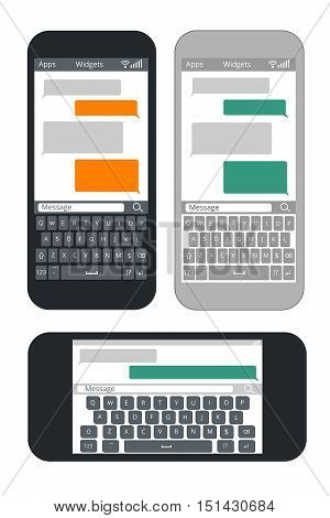 Smartphone with blank text message bubbles and keyboard vector template. Messaging and texting use smart mobile phone illustration