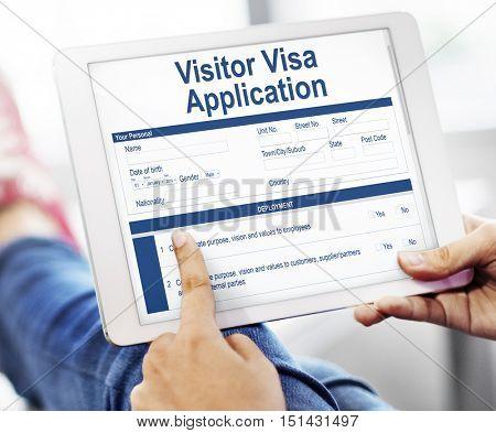 Tablet Visitor Visa Application Graphic Concept