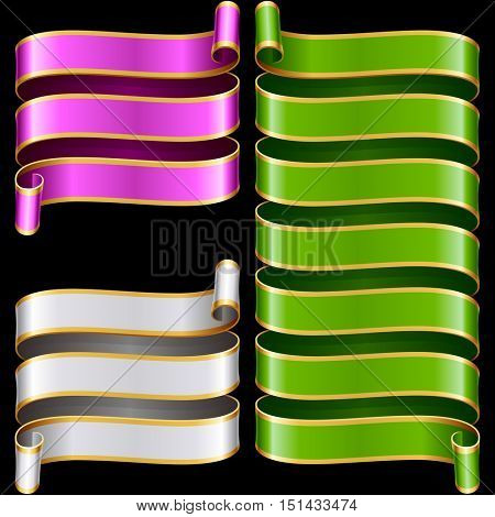 Vector ribbon frames set. Green, purple and yellow banners with golden border isolated on black background