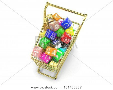 shopping cart with application software icons isolated on a white background. 3d rendering.