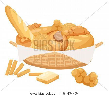 Bread set. Bakery and pastry products icons set with various sorts of bread sweet buns cupcakes dough.