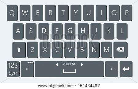 Smartphone keyboard. Realistic and flat mobile phone keypad vector moc-kup. Keyboard for mobile device illustration. No gradient