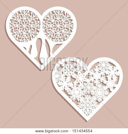 Set stencil lacy hearts with carved openwork pattern. Template for interior design, layouts wedding cards, invitations. Image suitable for laser cutting, plotter cutting or printing