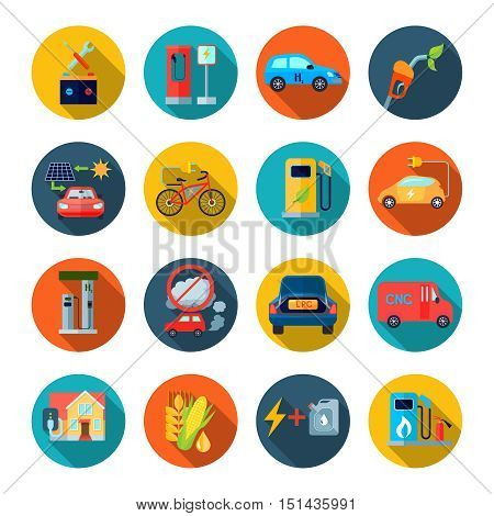 Alternative energy round icons set with alternative fuel symbols flat isolated vector illustration