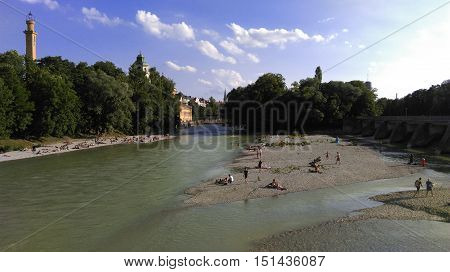 summer in munich - photo of the isar