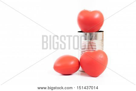 Group Of Red Heart In Metal Can Isolated On White Background,charity Concept