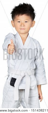 Portrait of a Young Asian Martial Artist Showing Thumbs Up
