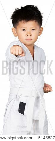 Portrait of a Young Asian Martial Artist Performing