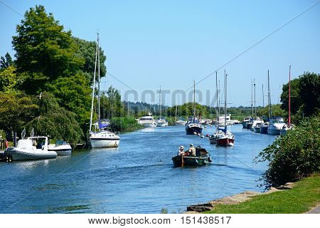 WAREHAM, UNITED KINGDOM - JULY 19, 2016 - Yachts and boats on the river Wareham Dorset England UK Western Europe, July 19, 2016.