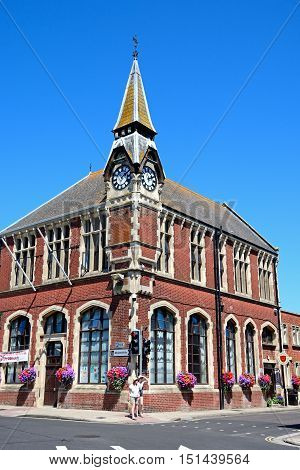 WAREHAM, UNITED KINGDOM - JULY 19, 2016 - View of the Victorian Town Hall in the town centre Wareham Dorset England UK Western Europe, July 19, 2016.