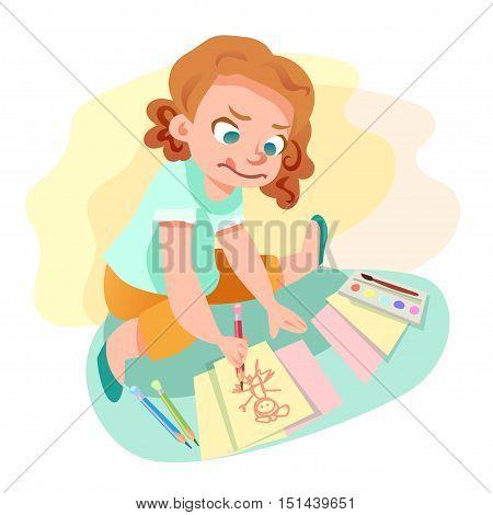 Cute little girl drawingan image on paper sitting on the floor. Kids hobby cartoon illustration.