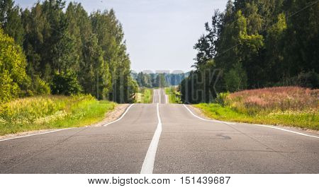 Empty Rural Road In Summer Day