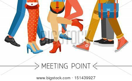 Flat design men and women legs and feet with stylish colorful clothes and footwear on white background vector illustration