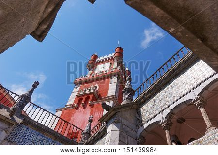 Red tower in Pena National Palace (Palacio Nacional da Pena) - Romanticist palace in Sintra, Portugal