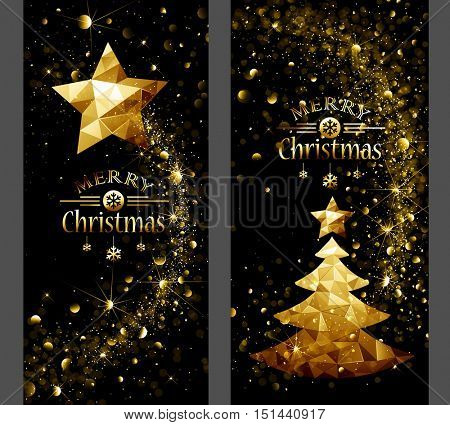 Christmas card with low poly gold star and trees flickering lights. Vector illustration