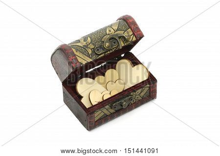 Treasure Box Of Love Fill With Heart Symbol, Vintage Old Storage Box Isolated On White Background