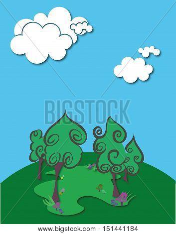 Blue Sky Four Tree Background, Vector, Illustration