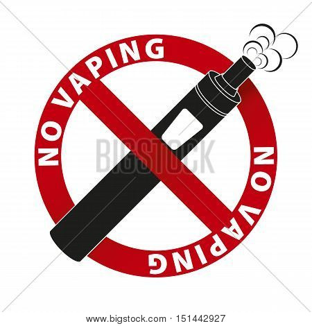 No Vaping sign and text on white background. Vector illustration.