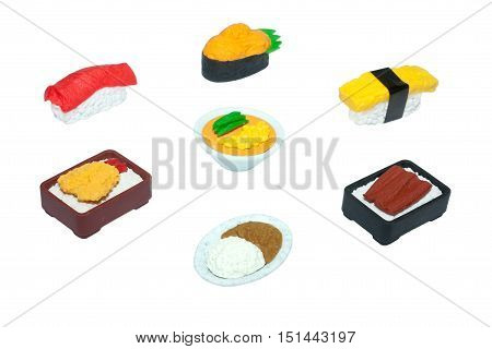 Japanese Food Rubber-Toy Isolated On White Background