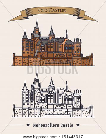 German hohenzollern castle architecture near alps. Family building or medieval construction logo with text on ribbon saying old castle above it. For historical book illustration and stone mansion