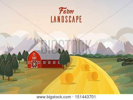 Farm landscape panorama with wheat field and mountain, barn on field and trees. Agribusiness farmhouse or season ranch near garden. Ideal for rural banner or village logo, farming emblem
