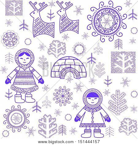 Winter abstract wallpaper with reindeers, trees, inuit and igloo