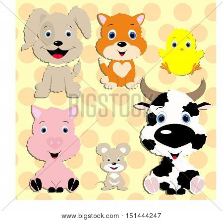 Set of vector animals in cartoon style. Cute animals on the background with traces of animals. A collection of small animals in the children's style. Farm