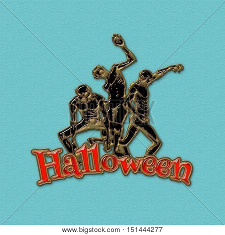 Zombie sticker. 3D illustration of zombies in different poses with Halloween red text. Emblem isolated on the blue background. Zombie Party Poster. Banner. Golden metal and colored glass.
