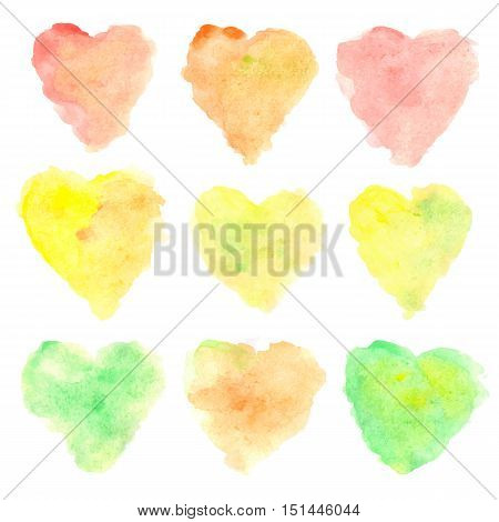 Watercolor heart shaped stains isolated on white background. Set of colorful hand painted spots. Autumn tints. Vector illustration.