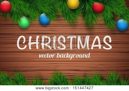 Christmas wooden background with spruce fir tree and glass balls. Top view. Winter Holiday xmas mockup and backdrop. Vector Illustration.