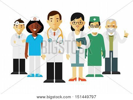 Team of practitioner young doctors man and woman standing. Medical staff.