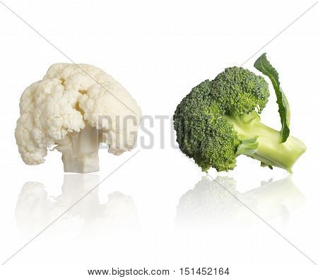 Cauliflower and Broccoli isolated in white background