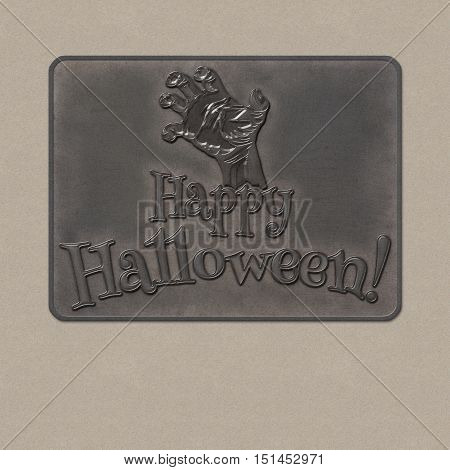 Happy Halloween text with the outstretched hand of zombie. Empty space leaves room for design elements or text. Zombie Party Poster. Banner. 3D illustration. Realistic metal plate badge from iron.
