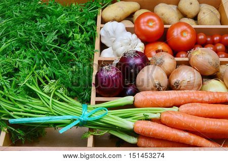 Carrots, onion, red onion, garlic, tomatoes, potatoes. a lot of colorful vegetable in the kitchen.