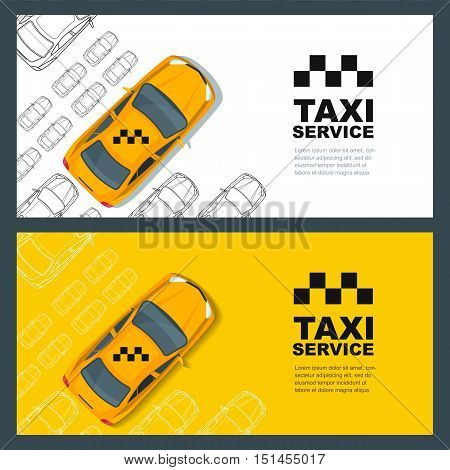 Set of vector taxi service banner flyer poster design template. Call taxi concept. Taxi yellow cab and outline cars isolated on white and yellow background.