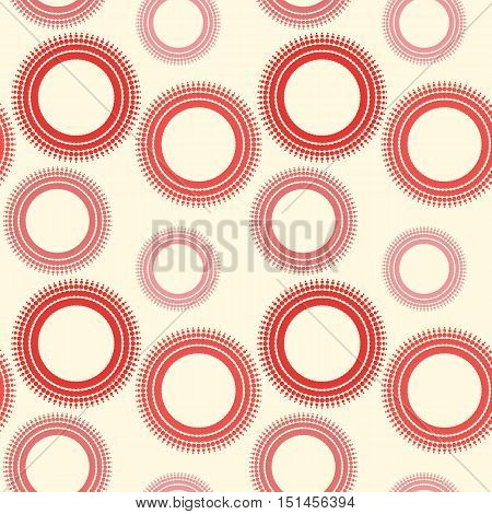 Seamless pattern of circles. Background of circles and rings. Radial shape retro style with grunge.Rapport from small parts. A blank for print tissue wrapping paper