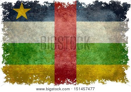 National flag of Central African Republic flag with grungy worn distressed textures and edges
